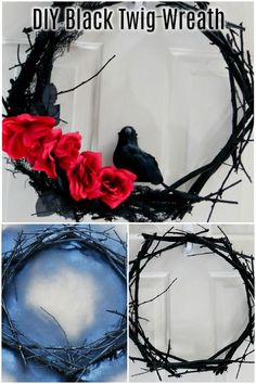 How to create a twig wreath base for a spooky Halloween themed wreath. #wreath #halloween #halloweendecor Crafts To Make, Fun Crafts, Crafts For Kids, Paper Crafts, Amazing Crafts, Decor Crafts, Diy Halloween Decorations, Spooky Halloween, Halloween Crafts