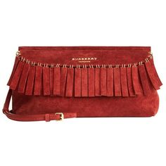 Burberry Suede Clutch Bag with Fringe ❤ liked on Polyvore featuring bags, handbags, clutches, purses, suede fringe purse, handbag purse, man bag, hand bags and burberry pochette