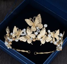 *******INTRODUCTORY PRICE********* Price will go to reg $48.99 once in stock********* A gorgeous baroque style tiara for your styled photo shoots! Part of our new Golden Butterfly Collection! Beautifu