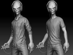 Alien skateboarder