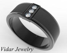 Mens Wedding Band,Mens Black Gold Wedding Ring,Unique Wedding Band For Mens,Black Gold Wedding Ring For Mens,Mens Diamonds Wedding Ring