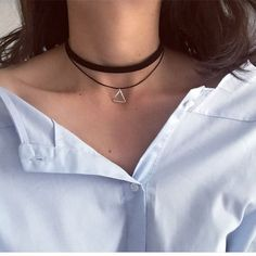 """SALE: Multilayer Chokers Necklaces For Women Triangle Geometric Pendant Necklace Collares Fashion Jewelry Bijoux Colar - Product: Triangle Choker Necklace Color:  Silver color Material: alloy      Chain Lengh: 28-32cm  +6 cm  (1""""=2.54cm)    Weight: 3 g Quantity: 1 pc Pac... ($0.81)"""