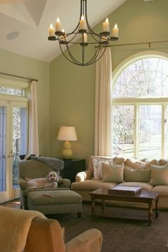 Rod above the arched window - curtains on rings - able to slide easily    Living Photos Draperies And Window Treatments Design, Pictures, Remodel, Decor and Ideas - page 9