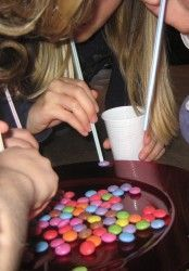 Party Games (m-n-m's OR skittles) straws and cups) take the straws and breathe/suck in and see you wins for most Simple easy and cheap go to dollars store for all items