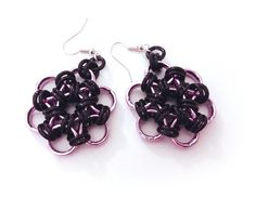 rose incatenate #chainmaille #pink #black #orecchini #earrings #chain
