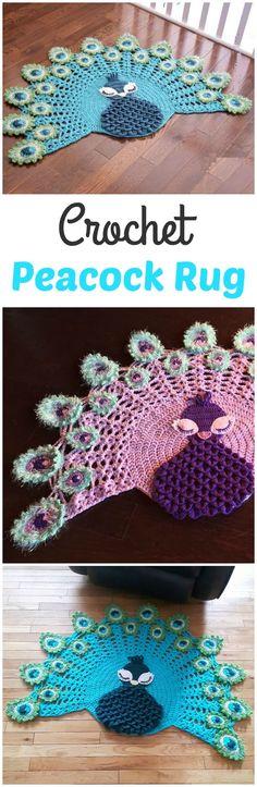 Crochet Peacock Rug
