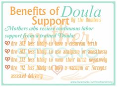www.facebook.com/MotherStrong MotherStrong Birth Doula presents numbers from the Cochrane Collaboration's findings on Doula Care