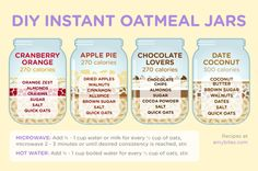 Instant oatmeal jars (alternative to overnight oats) Mason Jar Meals, Meals In A Jar, Breakfast Bites, Eat Breakfast, Jar Recipes, Real Food Recipes, Healthy Recipes, Healthy Breakfast Options, Breakfast Recipes