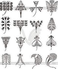 Einfache florale Ornamente im Jugendstil - vektorisierte Grafik