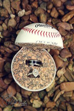 Wedding rings in baseball Heidi Burks Photography