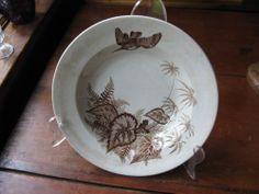 Iron Cross Begonia, bird Aesthetic Movement BROWN TRANSFERWARE Soup Bowl Burslem