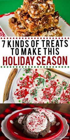 Seven kinds of treats you'll want to make for the holidays! Christmas cookies, peppermint bark, magic cookie bars and more! Great for holiday baking.