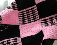 Great project blanket for a crochet-a-long, for your teen or yourself! What teen doesnt like hidden pockets and dazzling pattern design. Skill level: Intermediate and is worked in 12 panels.  Skill level: Intermediate Finished size: 36 inches x 36 inches approximately Materials: Hook Size G (4.00mm), Red Heart Black and Pink Group medium 4  Pattern is written in standard crochet language with pictures and charts as needed to complete.  Copyright 2010 Pamelas Patterns. Please do not…