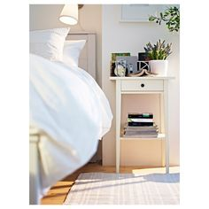 IKEA - HEMNES, Bedside table, white, Smooth running drawer with pull-out stop. Combines with other furniture in the HEMNES series. Ikea Hemnes Nightstand, Bedside Table Ikea, White Nightstand, Ikea Side Table, Floating Nightstand, Console Table, Ikea Bedroom, Bedroom Decor, Table Haute