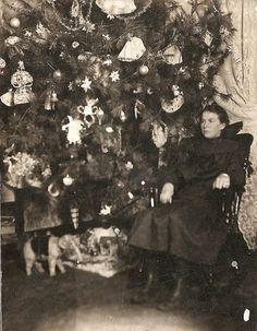 Vtg Antique Black White Photo Photograph Christmas Tree Lady Elephant Toy N R | eBay