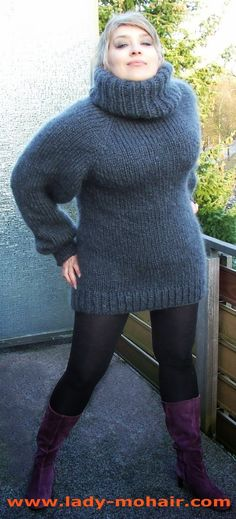 Blue Fashion, Asian Fashion, Gros Pull Mohair, Knit Dress, Turtleneck Dress, Thick Sweaters, Mohair Sweater, Winter Looks, Sweater Outfits