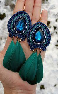 Teal Jewelry, Beaded Jewelry Designs, Funky Jewelry, Jewelry For Her, Geometric Jewelry, Cute Jewelry, Jewellery, Diy Earrings Dangle, Soutache Earrings