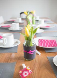 Tischdeko Babygläschen-Vasen