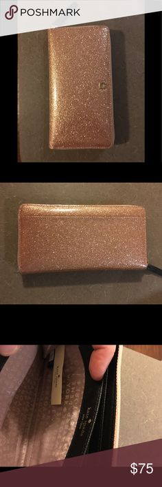 NWOT kate spade Rose Gold Glitter Bug wallet NWOT kate ♠️ rose gold glitter bug Lacey zip around wallet; Perfect condition!! Unpacked it and it's been sitting on the shelf looking pretty. Never used! Firm on price unless bundled. 🌸 kate spade Bags Wallets
