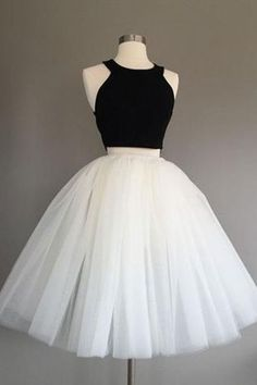 Cute black satin white tulle two piece prom dress, homecoming party dress, short prom dress for teens