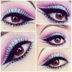 Pretty pink and blue eye shadow accented with a line of aqua crystals.