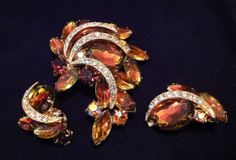 Vintage Brooch and Earrings 60s Costume by willynillyvintage, $20.00