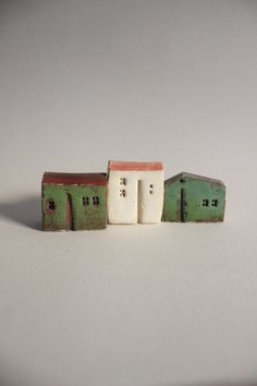 Set of 3  ceramic houses , made in high fired white stoneware clay, painted with acrylic colors - HOME DECOR