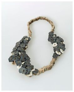 Silke Spitzer, Slate Necklace, Double, 2014, wood, slate, aluminum, 400 x 300 mm, photo: Eric Tschernow