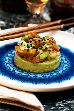 Vegan wasabi tart with marinated jackfruit