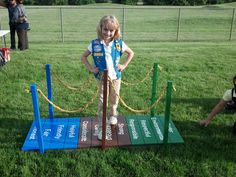This would be great for cub scouts paint the 12 core values and hang the Ranks off the poles? Looks easy enough to build on bottom and boards 12 across the top wth 6 poles to represent lions through weblos 2 Girl Scout Leader, Girl Scout Troop, Cub Scouts, Girl Scout Activities, Camping Activities, Brownie Girl Scouts, Girl Scout Cookies, Girl Scout Bridging, American Heritage Girls