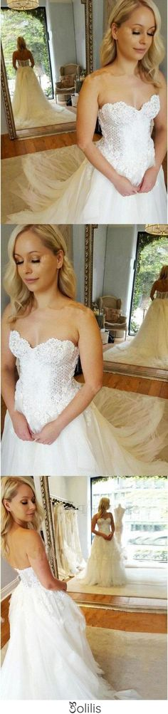 A-Line Sweetheart Strapless Lace Tulle White Sleeveless Wedding Dress with Appliques JS398, This dress could be custom made, there are no extra cost to do custom size and color Split Prom Dresses, Wedding Dresses Uk, Prom Dresses Online, Cheap Wedding Dress, Homecoming Dresses, Two Piece Dress, Appliques, Ball Gowns, Tulle