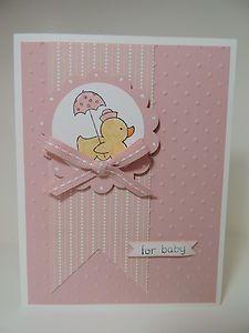 "Stampin Up ""for Baby"" Handmade Card Girl   eBay"