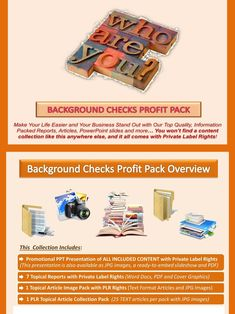 Background Checks PLR Profit Pack Quality, value packed and affordable private label background checks content portfolios, jam-packed with premium PLR reports, essays, articles and graphics. All of it comes with our exclusive, profit-ready, viral PowerPoint presentations. We've done all the hard work for you!  #BackgroundChecks #OnlineBusiness #Career #JobSearch #JobHunt #Employment