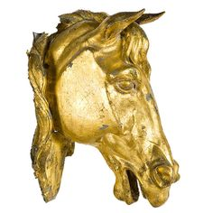 antique trade signs | Antique Horse Bust Livery Stable Trade Sign in Gilt Metal