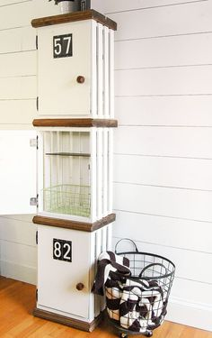 Build your own DIY lockers out of crates! www.littlehouseoffour.com