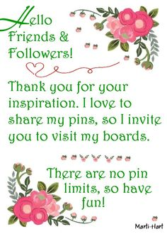 I like to share! That's why I'm a big fan of Pinterest! No silly limits here! Enjoy! Thanks to those who choose to follow!