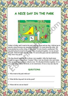 A nice day in the park - ESL worksheet by renca Comprehension Questions, Reading Comprehension, Today Is Friday, Vocabulary Worksheets, Esl, Good Day, Really Cool Stuff, This Or That Questions, Park