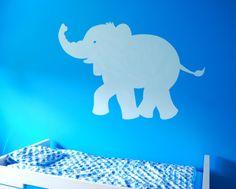 muurschildering silhouet van een olifant