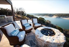 Outdoor Space Ideas. Outdoor Area. Outdoor space with incredible lake views and inspiring patio furniture. #OutdoorSpaces #OutdoorSpaceIdeas #PatioFurniture