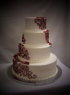 4 Tier with Red Scrolls