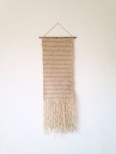 Crocheted wall hanging weaving wall hanging woven by Rowanstudios