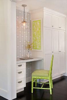 cute little desk area, great storage and pendant | desire to inspire - desiretoinspire.net - AnnsleyInteriors
