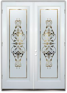Bordeaux Negative - Double Entry Doors Hand-crafted, sandblast frosted and 3D carved.  Available as interior or entry door in 8 woods and 2 fiberglass. Slab door or prehung any size, or as glass insert only.  Our fun, easy to use online Glass and Door Designer gives you instant pricing as YOU customize your door and glass!  When you're all finished designing, you can place your order right there online!  Doors ship worldwide from Palm Desert, CA