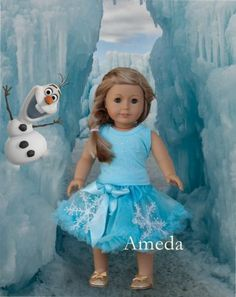 "18"" American Girl Doll Elsa Rhinestone Tee Blue Pettiskirt Clothes Dress Outfit | eBay"