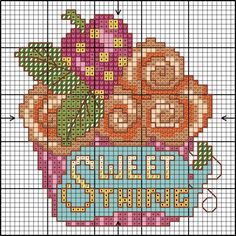 Cup cake card cross stitch chart