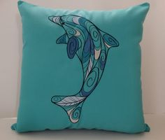 Sunbrella 16 x 16 Dolphin Pillow Custom Embroidered by OBACanvasCo, $35.00