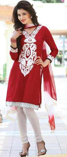 Maroon Cotton Churidar Kameez with Dupatta    Itemcode: KMU312    Price: US$ 46.59    Click here: http://www.utsavfashion.com/store/sarees-large.aspx?icode=KMU312