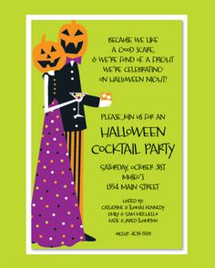 Fabulous Costume Couple Halloween Cocktail Party Invitation Template with Black Letterings.