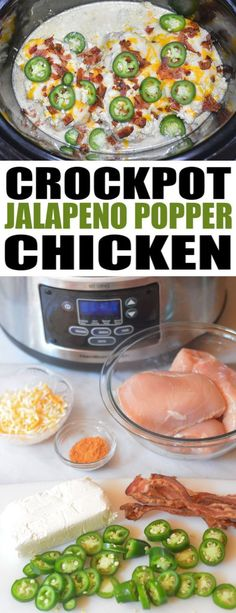 Cooker Jalapeno Popper Chicken Slow Cooker Jalapeno Chicken - easy low carb dinner with flavors from your favorite appetizer. KETO FriendlySlow Cooker Jalapeno Chicken - easy low carb dinner with flavors from your favorite appetizer. Keto Crockpot Recipes, Diet Recipes, Healthy Recipes, Low Carb Crockpot Chicken, Low Carb Chicken Recipes, Recipes Dinner, Easy Crockpot Recipes, Easy Low Carb Recipes, Healthy Low Carb Dinners