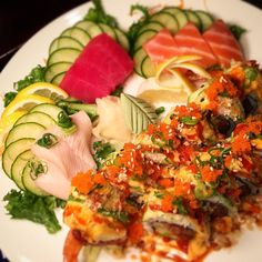 •Sashimi•  Yellowtail | Tuna | Salmon  Incredible Hulk Roll (at Maki Sushi Bar & Grill)